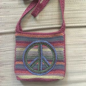 Colorful peace sign handbag